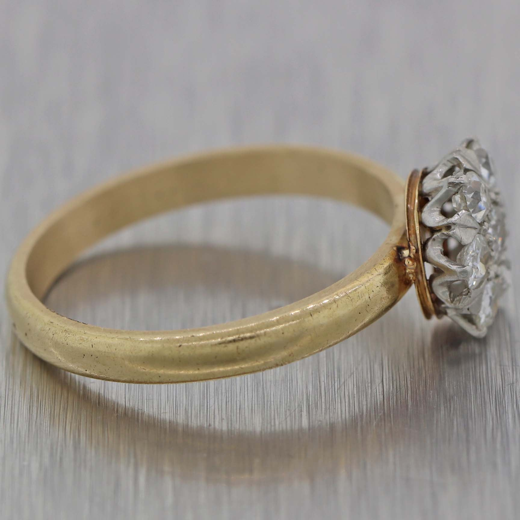 1930s Antique Art Deco Platinum 14k Yellow Gold .70ctw Diamond Cocktail Ring