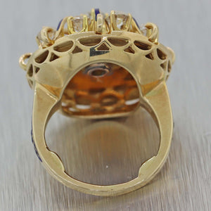 Antique Victorian  Vintage14k Yellow Gold 1.35ctw Diamond Enamel Cocktail Ring