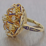 Antique Victorian Vintage 14k Yellow Gold 1.35ctw Diamond Blue Enamel Cocktail Ring
