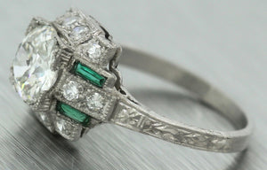 Antique Art Deco Estate 1.29ct Diamond Emerald Platinum Engagement Ring GIA