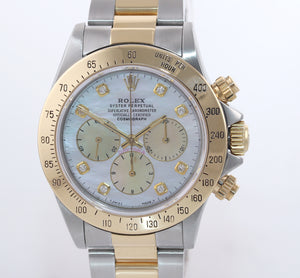 Rolex Daytona 16523 Zenith Two Tone 18 Yellow Gold MOP Diamond Dial Watch Box