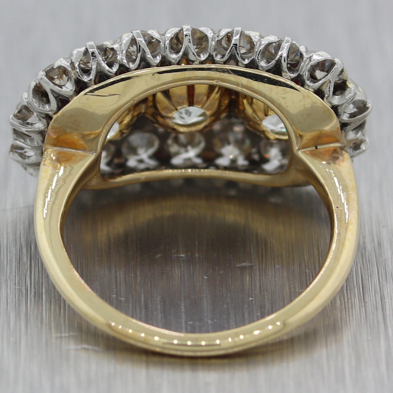 1930's Antique Art Deco 14k Yellow Gold 4.21ctw Diamond Cluster Ring EGL