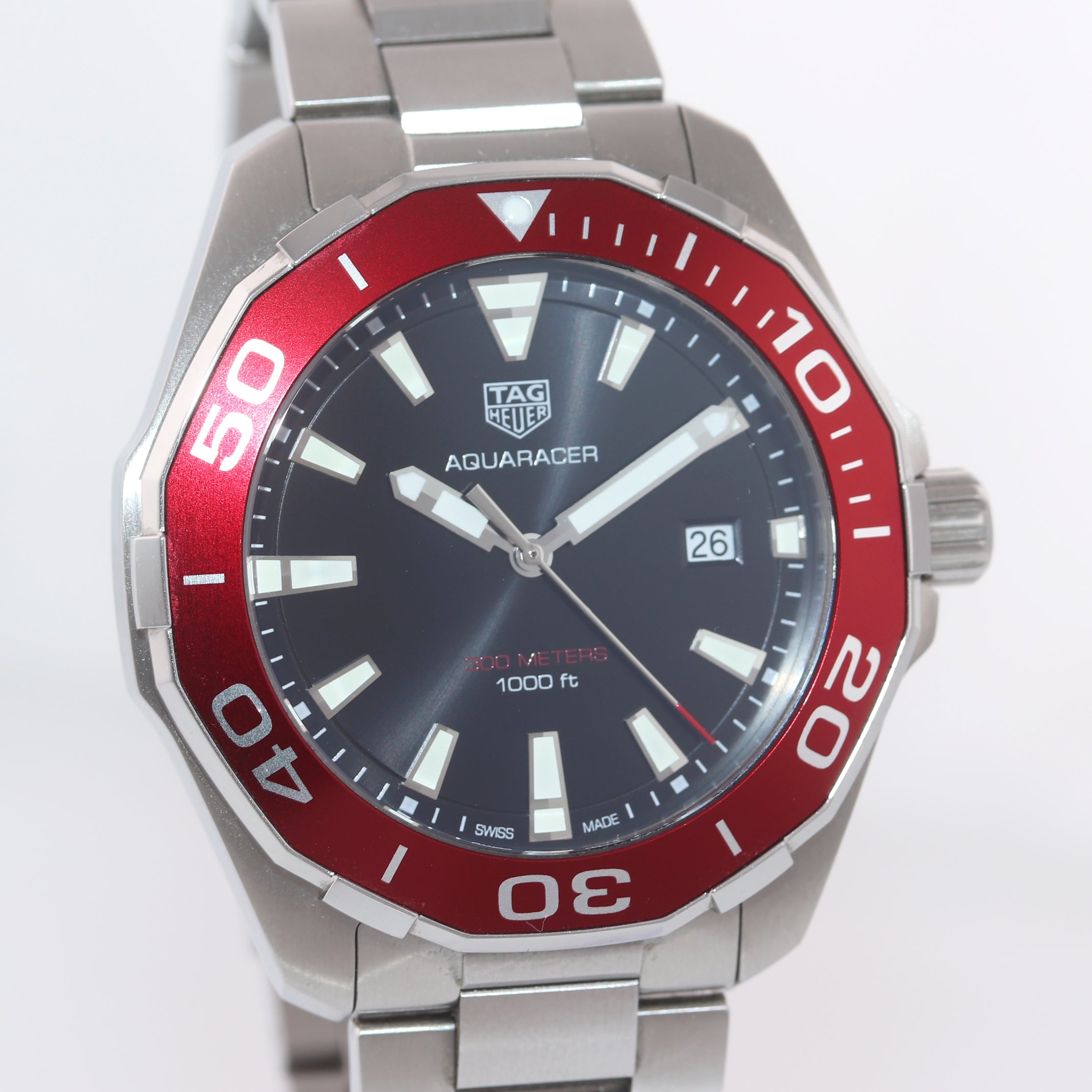 Tag Heuer Aquaracer Diver Black Dial Red Bezel Stainless Steel WAY101B.BA0746