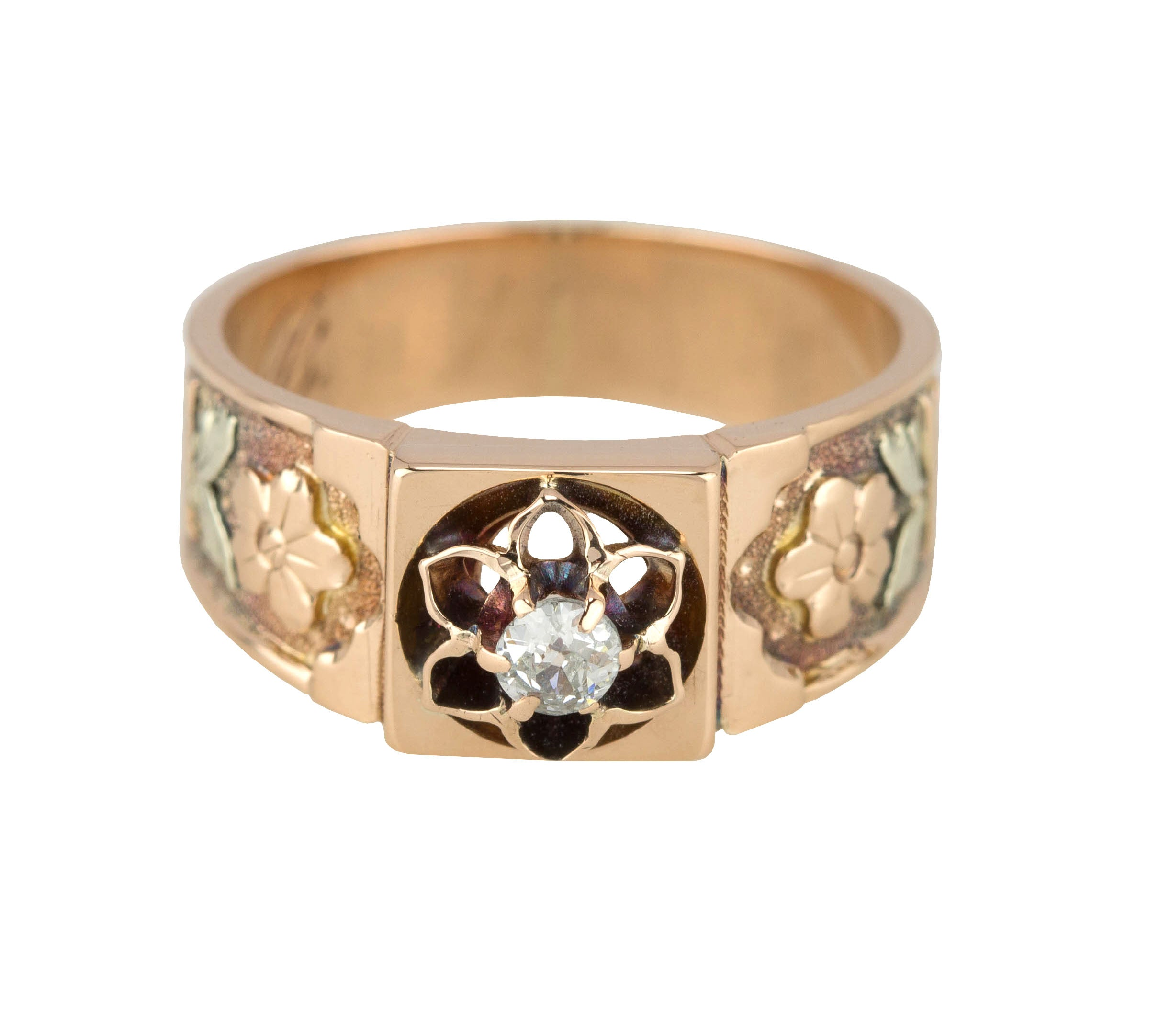 Women's Antique Victorian 14K Rose Gold 0.10ct Diamond Floral Filigree Band Ring