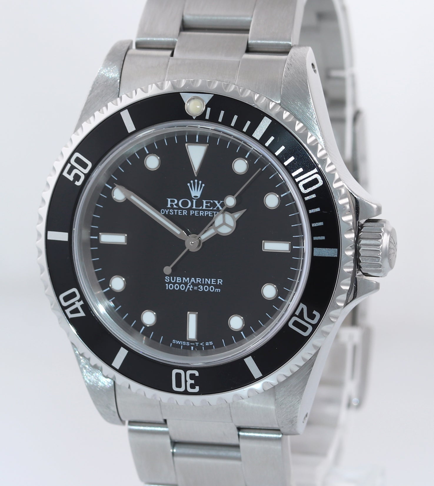 1998 Rolex Submariner No-Date 2 line dial 14060 Steel Black 40mm Watch Box