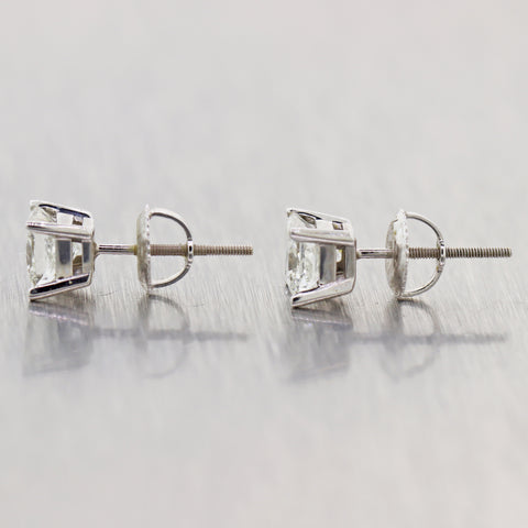 Modern 14k White Gold 1.20ctw Princess Cut Diamond Stud Earrings