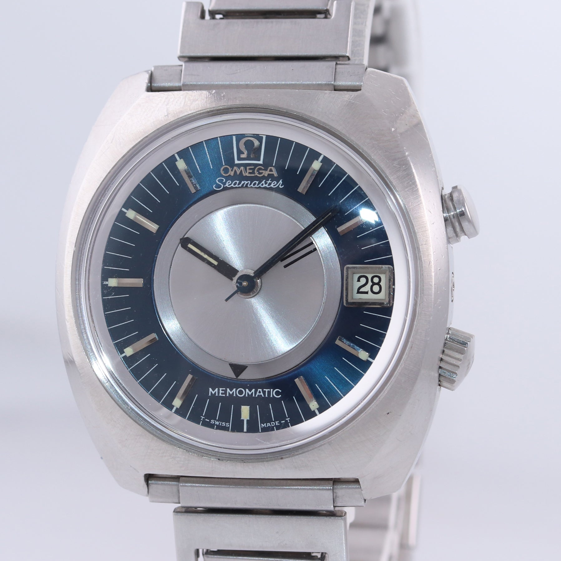 VTG Omega Seamaster Memomatic Steel 166.072 Alarm Automatic Cal 980 40mm Watch