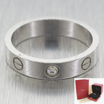 Mint Women's Cartier 18k Solid White Gold Single Diamond Love Ring w/ Box & CoA