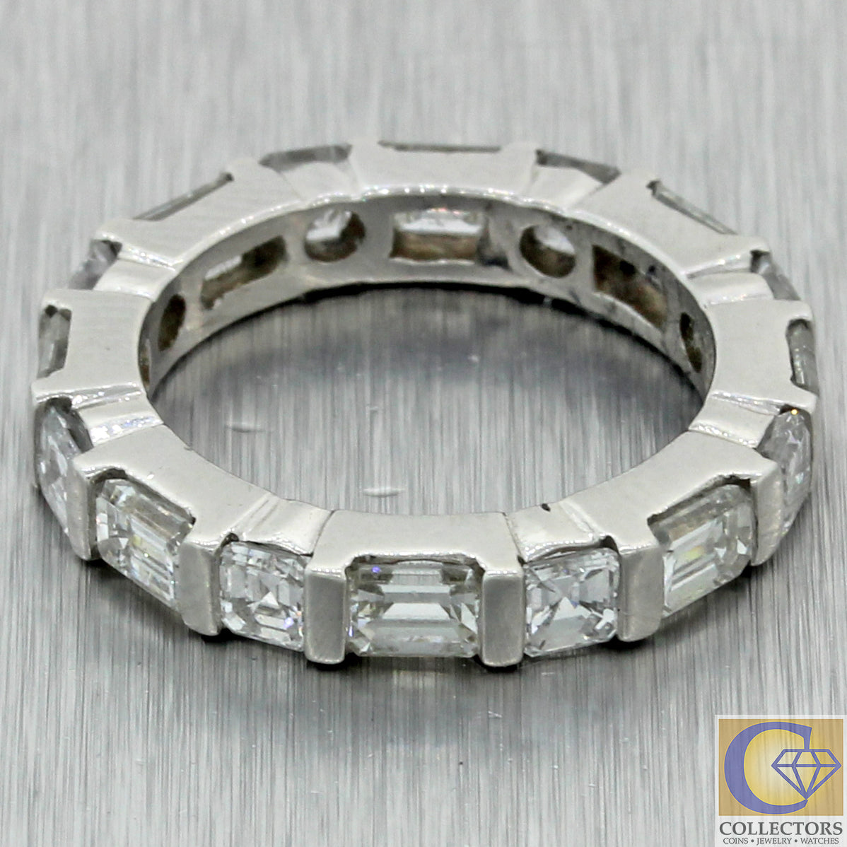 Vintage Estate Platinum 3.00ctw Baguette Diamond Eternity Wedding Band Ring