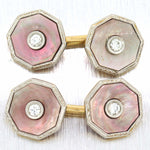 1920s Antique Art Deco Platinum 14k Gold Tiffany & Co. Diamond MOP Cufflinks D8