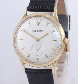 Vintage LeCoultre Solid 14k Yellow Gold Manual Wind 34mm Dress Watch
