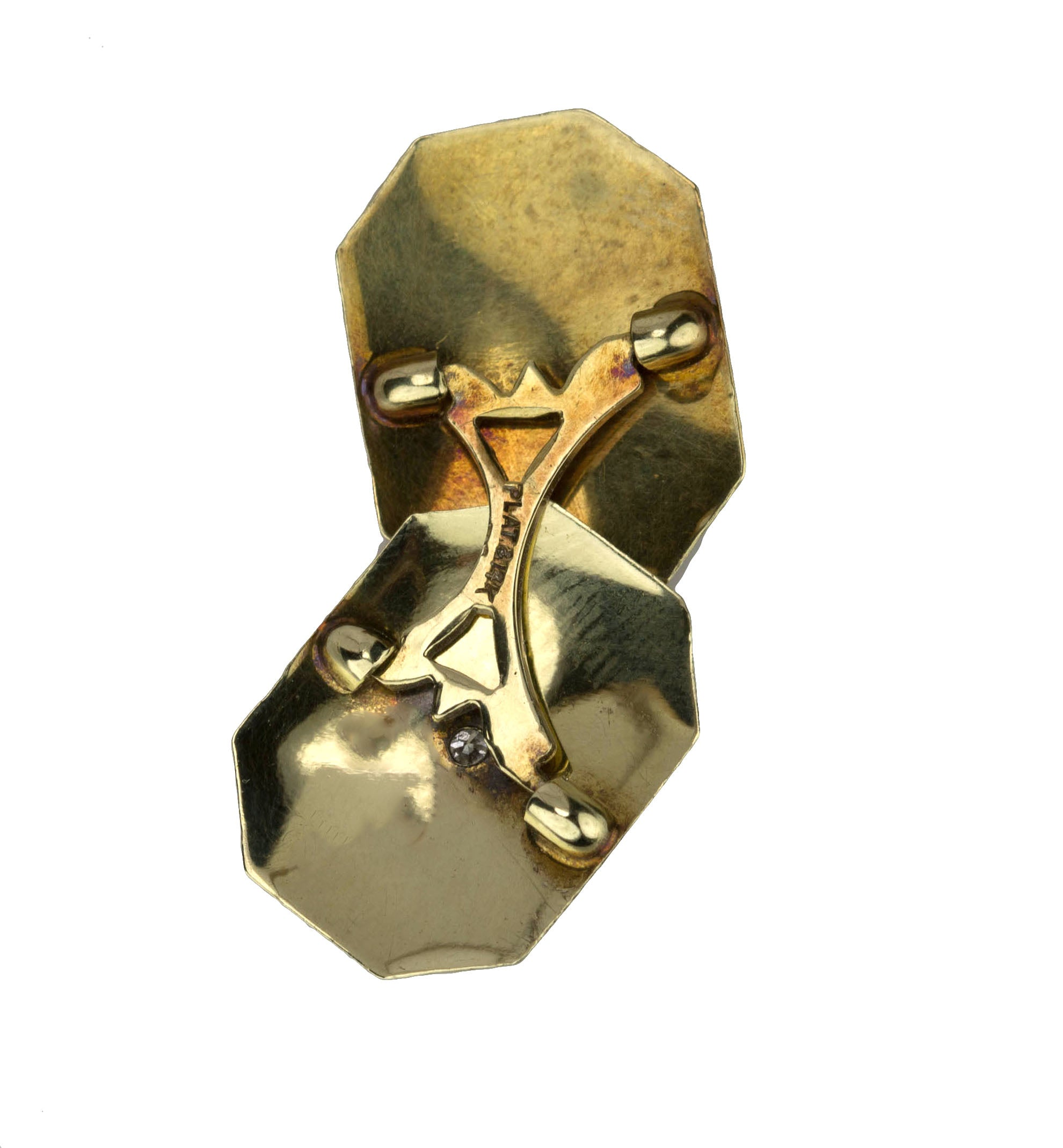 Men's Antique Art Deco 14K Yellow Gold Platinum 0.04ctw Diamond Etched Cufflinks