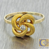 1880s Antique Victorian 14k Solid Yellow Gold .06ct Diamond Spiral Ring