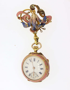 Antique Victorian Solid 18k Yellow Gold Enamel Flower Diamond Pocket Watch Brooc