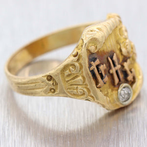 1920s Antique Art Nouveau Deco 14k Yellow Gold Diamond Chinese Cocktail Ring D8