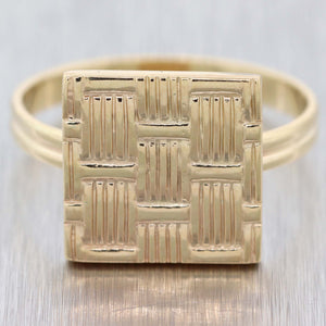 Vintage Estate Tiffany & Co. Solid 14k Yellow Gold 13mm Square Ring D8