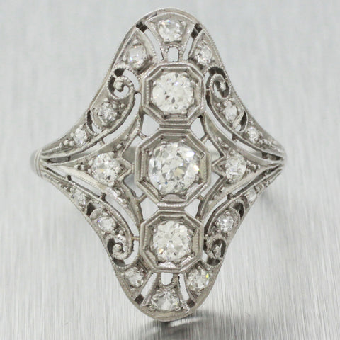 1930's Antique Art Deco Platinum 1.10ctw~ Diamond Filigree Cocktail Ring