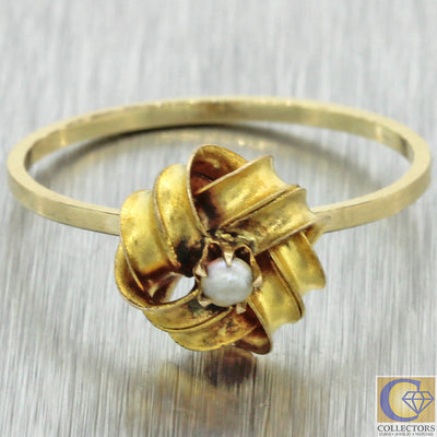 1880s Antique Victorian Estate 14k Yellow Gold Seed Pearl Love Knot Cocktail Ring