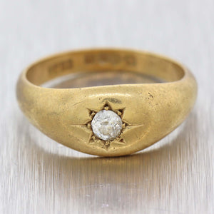 1880s Antique Victorian 18k Yellow Gold .20ctw Diamond Gypsy Setting Ring D8