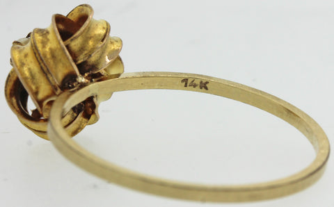 1880 Antique Victorian Estate 14k Yellow Gold Seed Pearl Love Knot Cocktail Ring