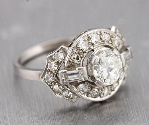 Lovely Ladies Vintage Estate Platinum 1.35ctw Diamond Engagement Ring EGL USA