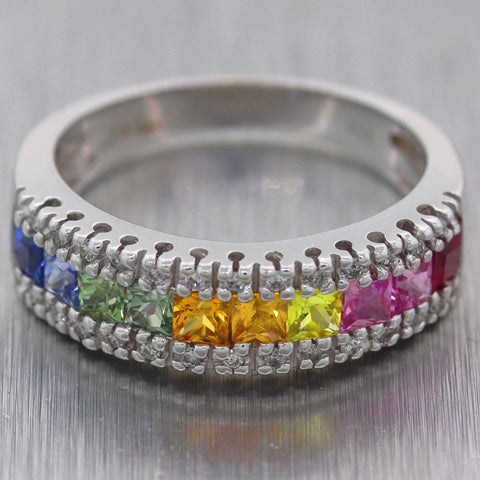 EFFY 14k White Gold 1.46ctw Multicolor Rainbow Sapphires & Diamond Band Ring