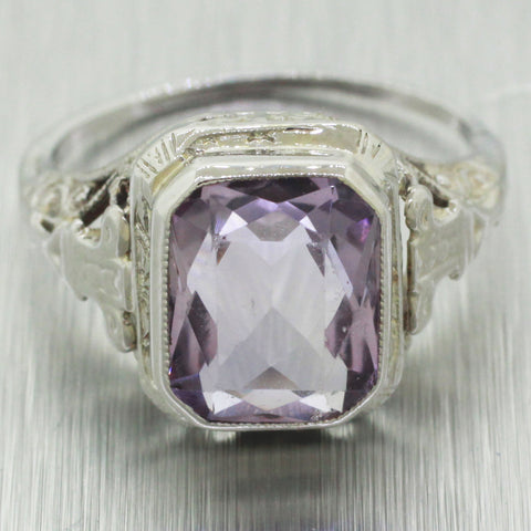 1930's Antique Art Deco 14k Solid White Gold 3.20ctw~ Amethyst Filigree Ring