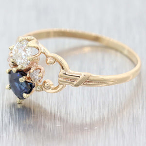 1880s Antique Victorian 10k Yellow Gold .72ctw Diamond Sapphire Cocktail Ring D8