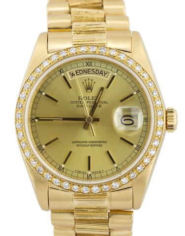 Rolex Day-Date President 36mm 18078 Bark 18K Gold Diamond Bezel Watch 18038