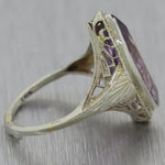 1930's Antique Art Deco 14k White Gold Amethyst Filigree Ring