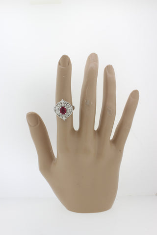 1960s Vintage Estate 18k White Gold 0.94ct Ruby 1.27ctw Diamond Cocktail Ring