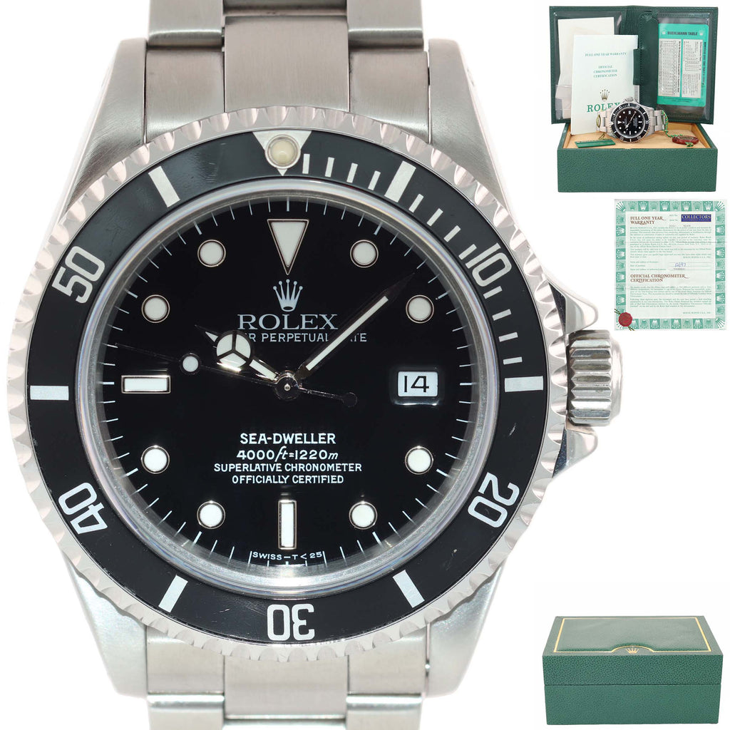 1997 PAPERS Rolex Sea-Dweller Steel Date 16600 40mm Date Black Diver Watch