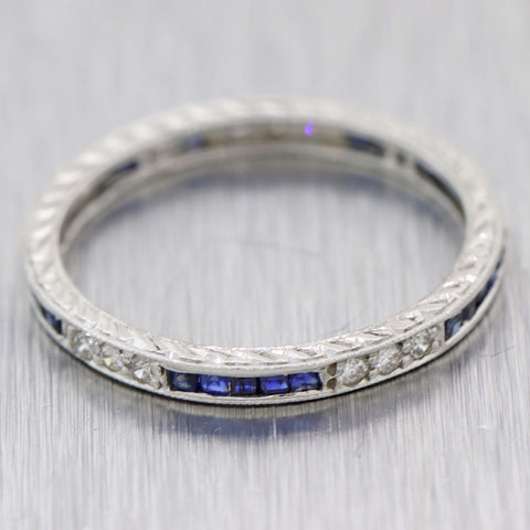 1930s Antique Art Deco Platinum Diamond Sapphire Eternity Wedding Band Ring D8
