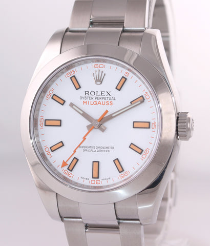 MINT Rolex Milgauss 116400 White Orange 40mm Steel Oyster Anti-Magnetic Watch