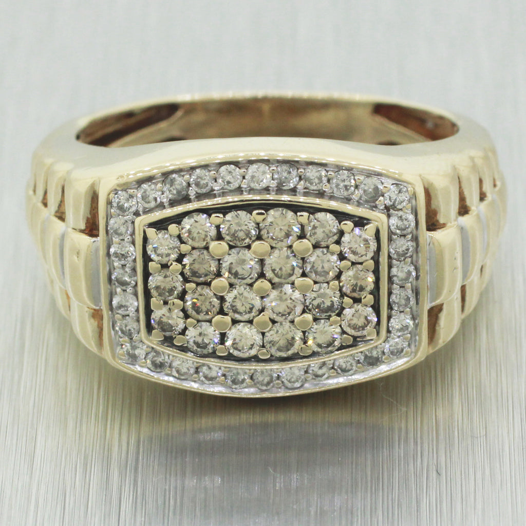 Vintage Estate 10k Solid Yellow Gold Presidential Style 1.74ctw~ Diamond Ring