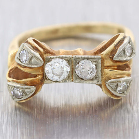 1940s Antique Art Deco 14k Yellow Gold .50ct Diamond  Bow Tie Cocktail Ring D8