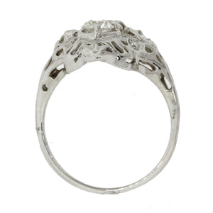1930s Antique Art Deco Estate 14k Solid White Gold 1.32ctw Diamond Filigree Ring
