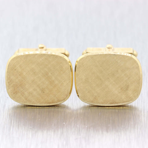 1970s Vintage Estate Brushed 14k Yellow Gold Tiffany & Co. 20mm Cufflinks D8