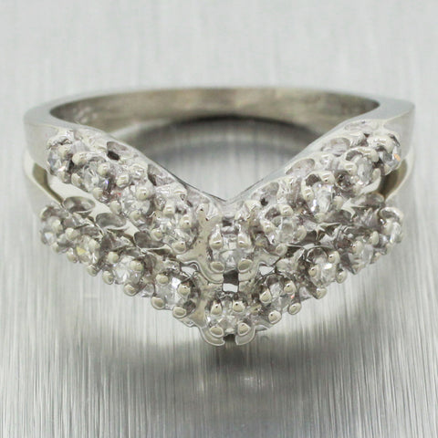 Vintage Estate 14k Solid White Gold 0.90ctw~ Diamond Chevron Ring Stack