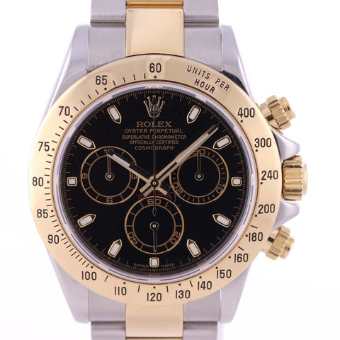MINT Rolex Daytona Cosmograph 116523 Black Dial Steel Gold Two Tone Watch C8