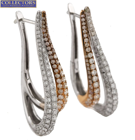 Ladies Elegant 14K White Rose Gold Two-Tone 3.07ctw Diamond Drop/Dangle Earrings