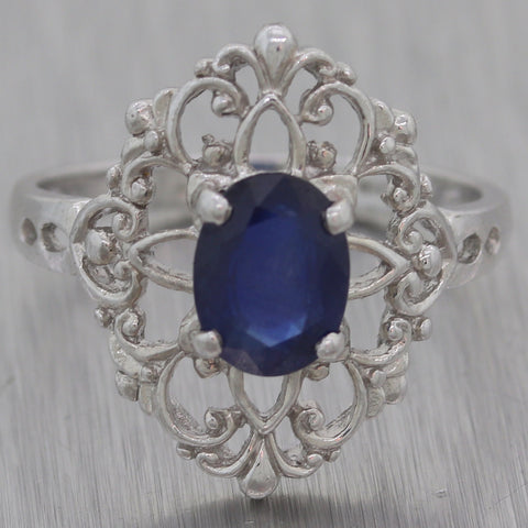 Antique Vintage Estate Platinum & 14k White Gold 1ctw Sapphire Ring