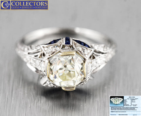 Ladies Antique Art Deco Platinum 2.12ctw Diamond Sapphire Engagement Ring EGL