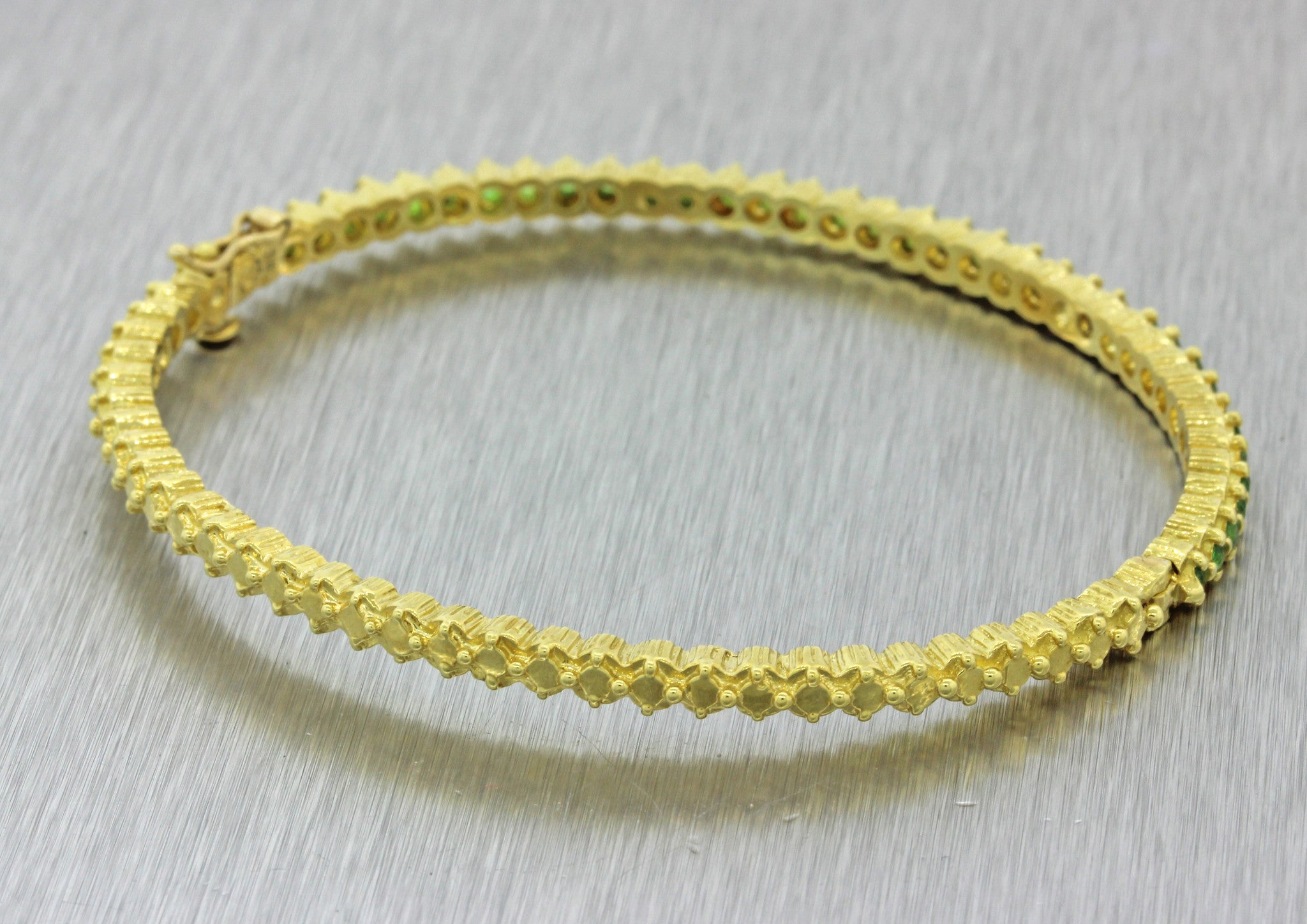 Doris Panos 18k Solid Yellow Gold 1.30ctw Tsavorite 3mm Bangle Bracelet 17.2g