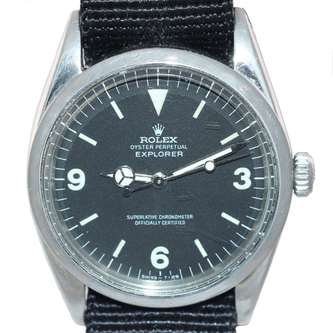 Vintage Men's Vintage Rolex Oyster Perpetual Explorer I 1016 Black Matte 36mm Watch