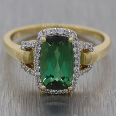 Vintage Estate 14k Yellow Gold Tourmaline & Diamond Ring