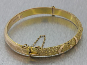 1930s Antique Victorian Estate 9ct Solid Yellow Rose Gold Bangle Bracelet