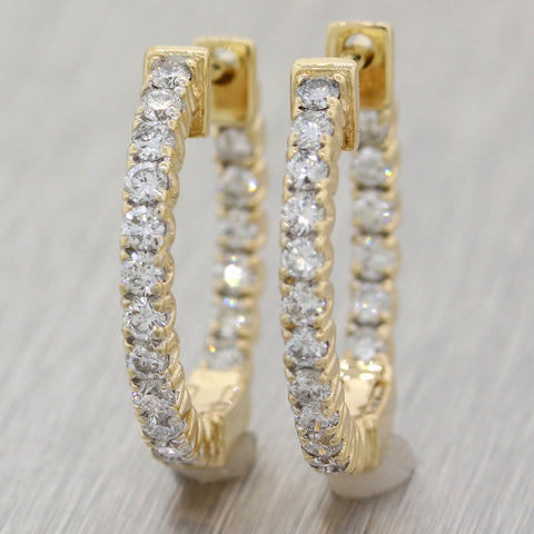 Modern 14k Yellow Gold In & Out 1ctw Diamond Huggie Hoop Earrings