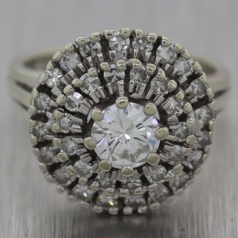 Vintage Estate 14k White Gold 1ctw Diamond Cluster Ring