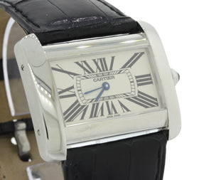 Cartier Tank Divan Stainless Steel 38mm X 23mm Silver Dial Watch 2600 w/Pouch